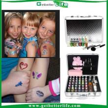 2015 glitter kit de tatuaje arte de cuerpo Pro Deluxe tattoo Kit 38color polvo plantilla pegamento Kits Set brillo Tatuajes