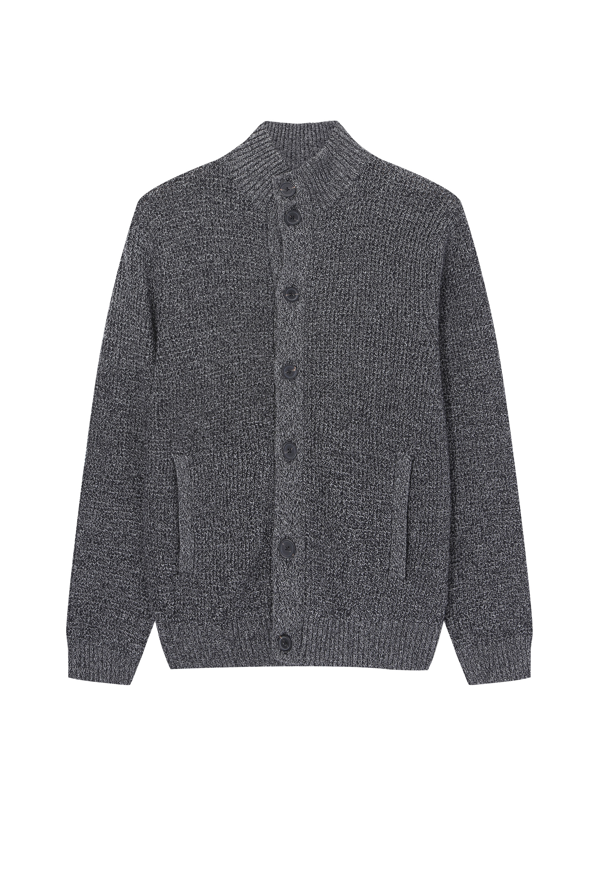 Men's Stand collar Rib Knitted Cardigan with front pocktes