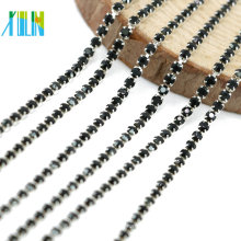 Manufacturer Supply Silver Close Claw Jet Glass Chaton Rhinestone Cup Chain for Clothing Accessories, G0208
