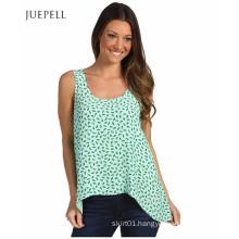 Summer Green Color Casual Chiffon Beach Tank Top