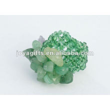 Verde Aventurine Chip Piedra Estiramiento Semillas de vidrio de cuentas de anillo