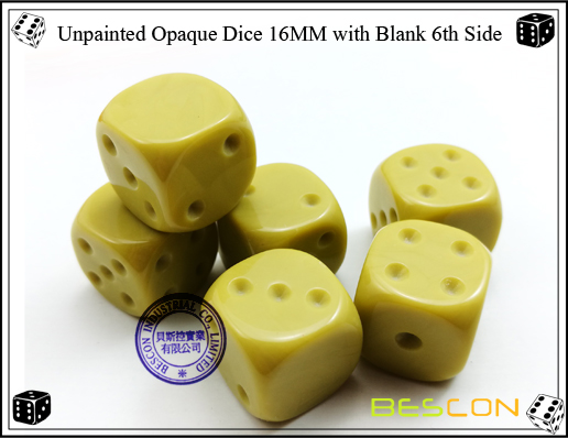 Unpainted Opaque Dice 16MM with Blank 6th Side-9