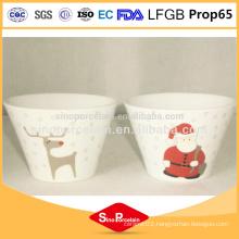CIQ beautiful decal design xmas stoneware ceramic conical bowl wholesale