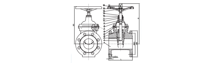 f4 f5 gate valve drawing