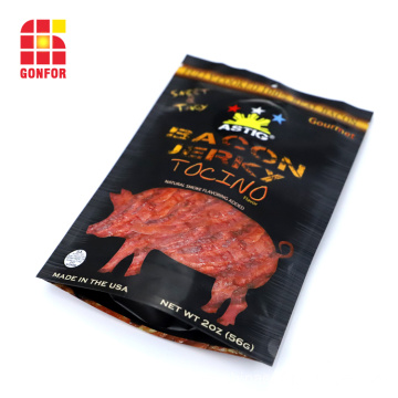 Bacon Jerky Packaging bolsa de pie con cremallera