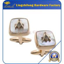 Gemelos de perlas de metal de dos piezas masónicas