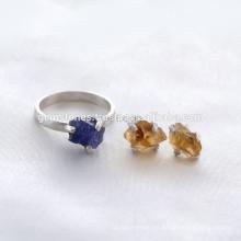 Atacado 925 Sterling Silver Natural Gemstone Jewelry Handmade Gemstone Bezel Jóias Fornecedor