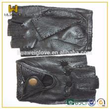 Gants de cuir sport personnalisés en noir Gants de conduite sans doigts féminins