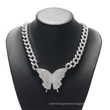 Fashion Butterfly Chain Iced out Cuban Link Chain Butterfly Necklace Womens Chocker Hip Hop Jewelry Ice Jewellery