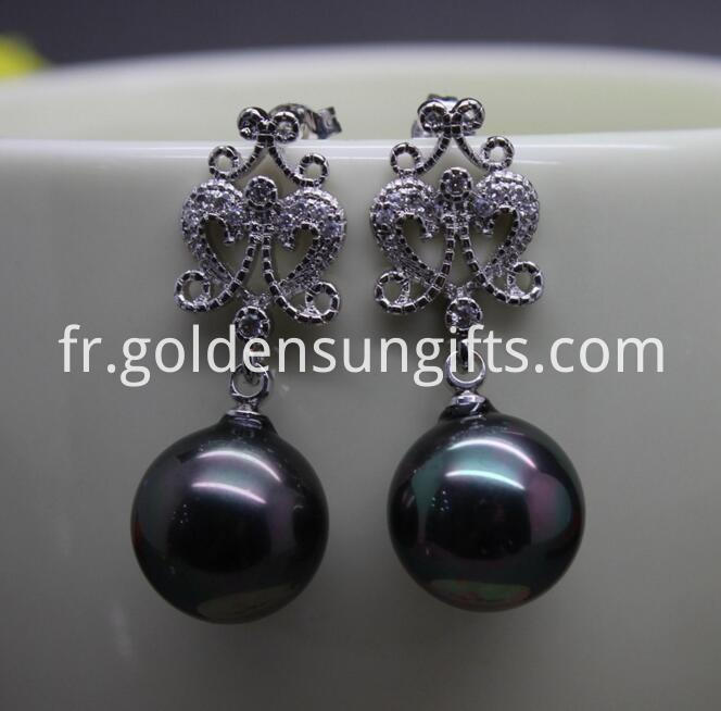 Black Large Shell Pearl Earrings