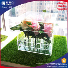 Engrave Flower Acrylic Decorative Box Rose Package Box