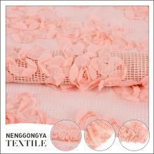 Telas florales bordadas gasa rosadas por encargo para los vestidos