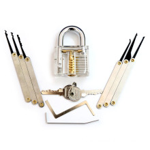 Transparent Practice Padlock with 8PC Lockpicking Tools (Combo 8-A)