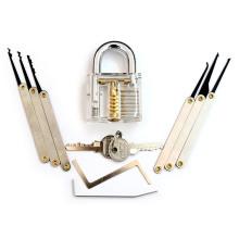 Transparent Practice Padlock with 8PC Lockpicking Tools (Combo 8-A)
