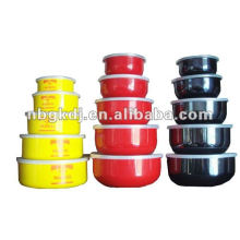enamel mixing storage bowl with PP lid and fashional design