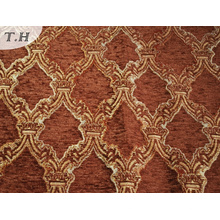 2016 Red Brown 100% Polyester Chenille Jacquard Sofa Fabric