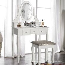 De madeira branca penteadeira com cadeira e cinco gavetas para quarto Branco de limpeza penteadeira com cadeira e cinco gavetas para quarto