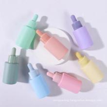 Cute Cosmetic 20ml 30ml Colorful Pink Blue Glass Empty Serum Bottles Dropper Essential Oil Bottle
