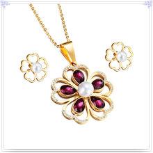 Joyería de acero inoxidable joyas de cristal joyería de moda conjunto (js0030)