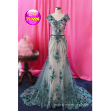 Green Coffee Sequins Lace Mermaid Wedding Gown Bridal Evening Dress