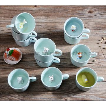 Creative Small Ceramic Milk Mug with Animals Cute Cartoon Inside