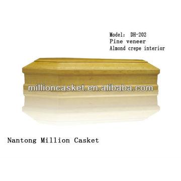 folheado de pinho de madeira do caixão sem acessórios de metal
