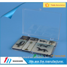 Factory manufacture 44*21mm epoxy magnet in a thin pvc box