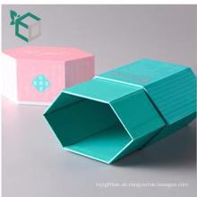 17 Jahre Erfahrung benutzerdefinierte frische blaue rosa Farbe Druck starren Sechseck Form Bleistift Geschenkbox Verpackung