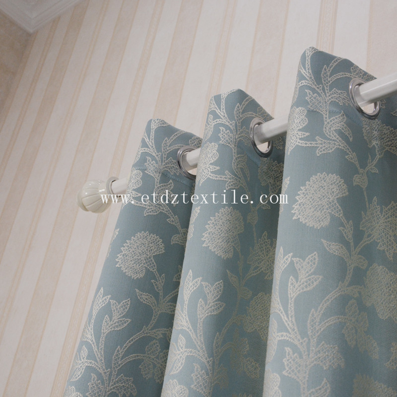 2016 New Chinese Popular Flower Pattern Jacquard Curtain Fabric GF029 Water Blue