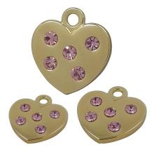 Colgante de metal con forma de corazón de oro y aleación de zinc
