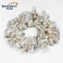 Keshi à eau douce 5-7mm 3 lignes 925 Bracelet en perles de femmes en argent sterling