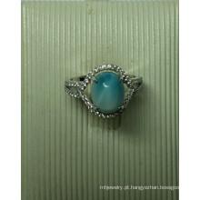 Joias de prata esterlina Larimar natural em anel (R0305)