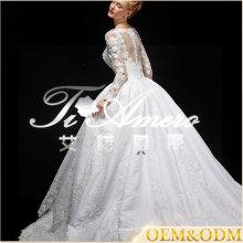 Ainuo professional custom made long sleeve Ball Gown luxury wedding dress 2017