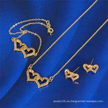 2016 último diseño del corazón 14k oro conjunto de joyas (61168)