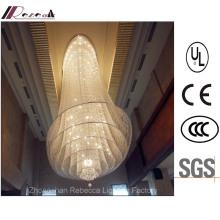 Hotel Lobby Hanging Crystal Lámpara de techo con acero inoxidable
