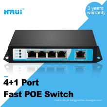 HRUI fibra óptica equipamento ip câmera 10 / 100M 48 v 4 portas poe switch
