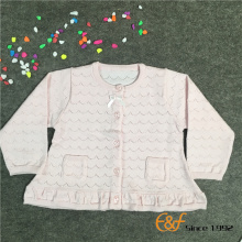 Pointelle Weave Hemline Sweater for Girls