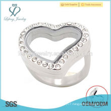 Special design heart rings,stainless steel glass memory floating lockets rings jewelry