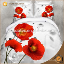 romantic love red flower white background disperse printed bedding set