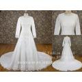 long sleeves pearl beaded muslim wedding dress wedding dress 2017