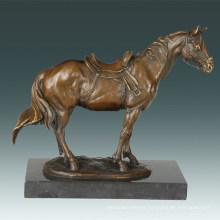 Animal Bronze Sculpture Horse Carving Decor Brass Statue Tpal-258