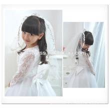 Белый необычные девушки цветка линии scalloped с длинным рукавом Подгонянные девушка vestidos платье для свадьбы FG012 девочка свадебное платье