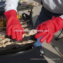 Horno resistente al calor del silicón de la alta calidad de encargo y guantes resistentes de la barbacoa Guante del Bbq del horno de la parrilla del estándar / del silicón de la FDA /