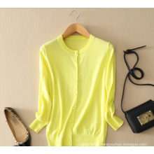 Candy color lady's 100% cotton knitted cardigan for Autumn
