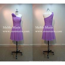 Ein Schulter Minirock Knielänge Brautjungfer Kleid lila Brautjungfer Kleid