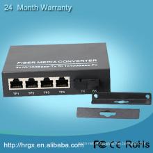 1 porta de fibra SFP + 4 porta RJ45 10 / 100Mbps 1 fibra 4 ethernet single mode conversor de mídia utp de fibra óptica
