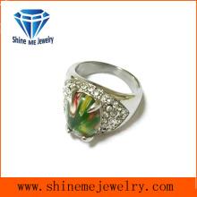 Millefiori vidrio y Multi CZ anillo de fundición