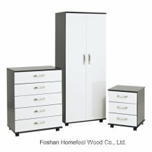 Modern High Gloss 3PCS Bedroom Wardrobe Closet Sets with Wheels