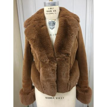 Women's Suede Shearling Winter Jacket