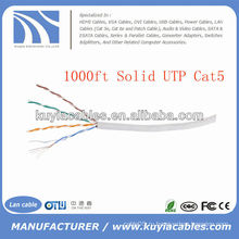 1000FT 4pairs Cat5 сети твердого медного кабеля UTP